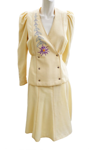Bill Gibb Vintage Skirt Suit in Cream Wool Crepe with Embroidery, UK10-12