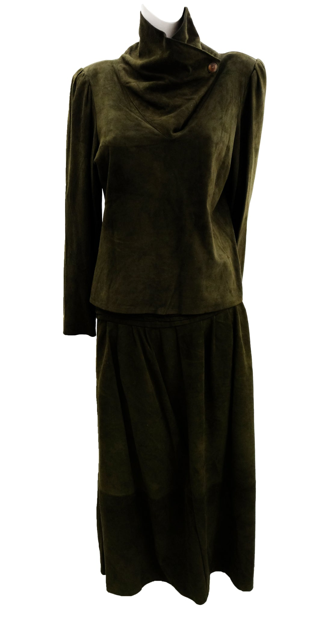 Vintage 1980s  Green Suede 2-piece Skirt Suit, UK12-14