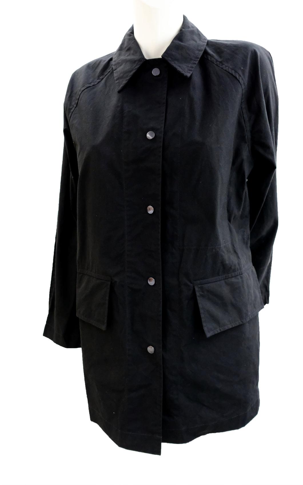 Margaret Howell MHL Classic Raincoat in  Black Cotton, UK10