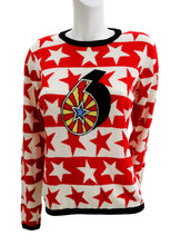 Jaeger Vintage Intarsia Jumper with Red and White Stars, UK10