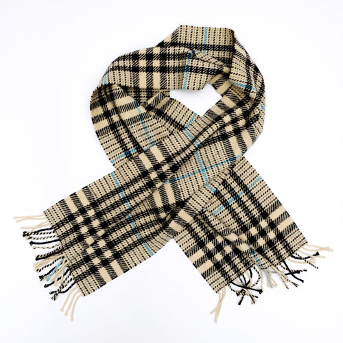 Burberry Scarf in White Black & Blue Check Wool