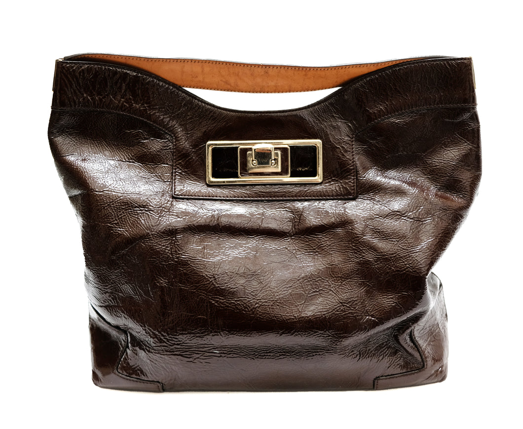 Anya Hindmarch Brown Slouchy Patent Leather Shoulder Bag, L