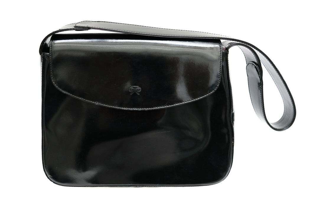 Anya Hindmarch Shoulder Bag in Black Patent Leather, M