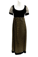 Belinda Bellville Empire Maxi Dress in Black Velvet with Gold Polka Dot Tulle, UK10