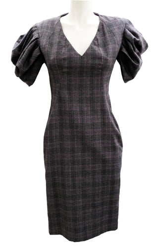 Alexander McQueen Prince of Wales Check Dress with Puffed Sleeves, UK10