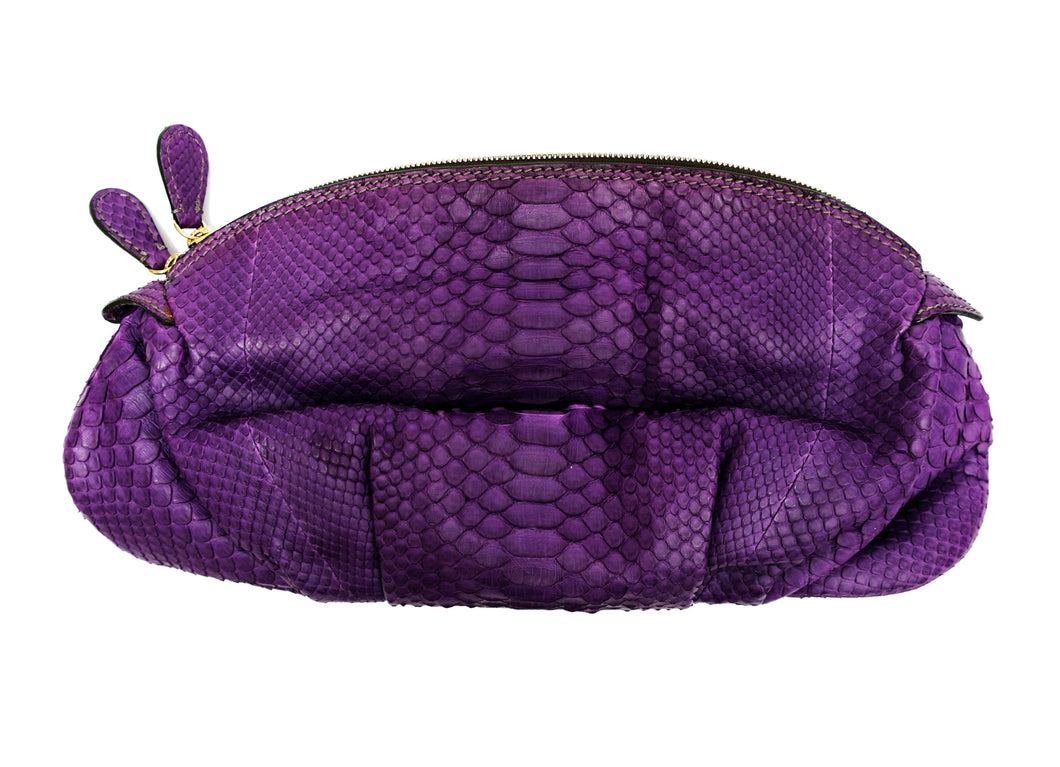 Zagliani Purple Python Clutch Bag