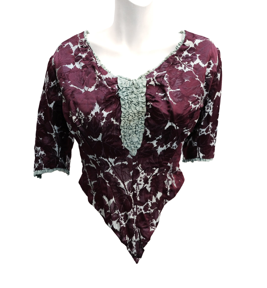 Antique Late 19th Century Boned Bodice in Burgundy Brocade, UK10
