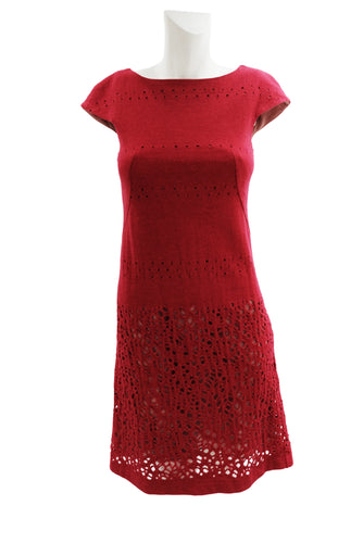Sybilla Vintage Cut Out Shift Dress in Cherry Red Wool,  UK8-10