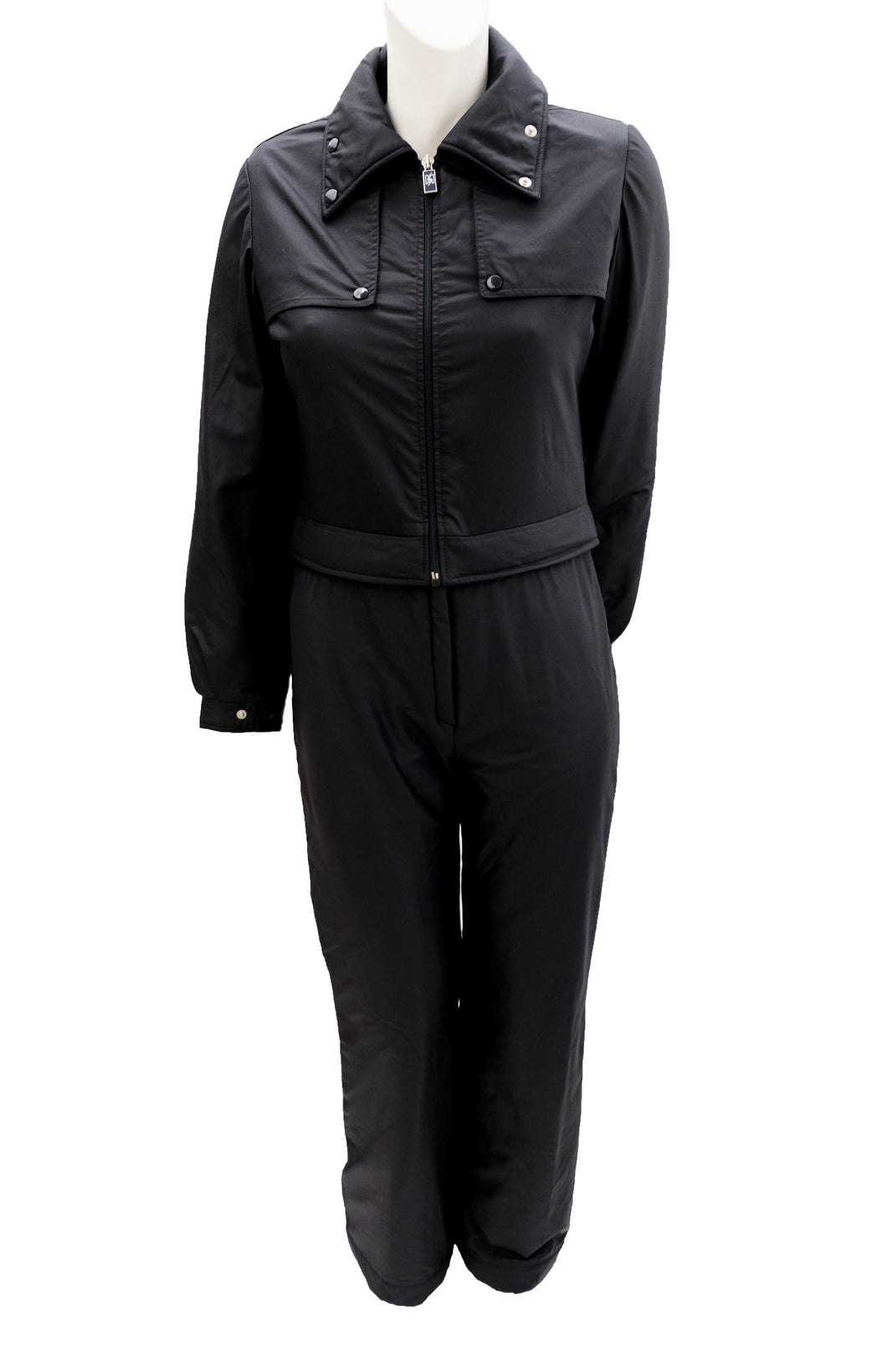 Skimer Vintage Detachable All in One Ski Suit in Black, UK10
