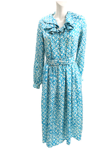 Vintage Handmade Turquoise Printed Silk Dress with Ruffle Collar, UK12