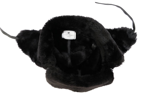 Courreges Vintage Trapper Hat in Black Shearling