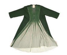Sybilla Vintage Pleated Dress in Moss Green and Cream, UK10