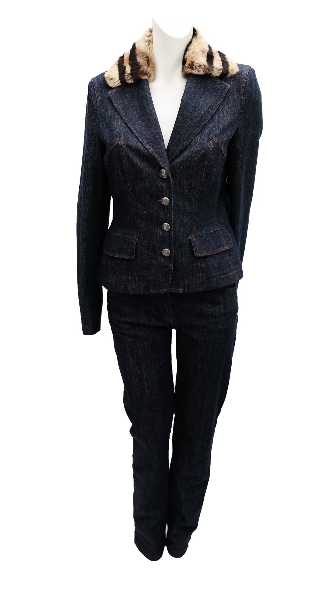 Salvatore Ferragamo Vintage Denim Trouser Suit with Fur Collar, UK10-12