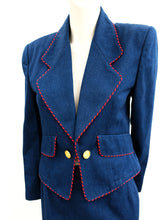 Guy Laroche Vintage Denim Skirt Suit with Red Piping, UK10