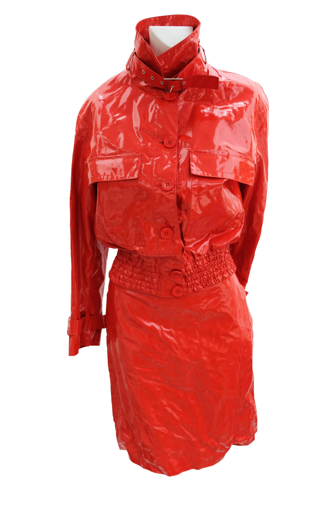 Max Mara Shiny Red Plastic 2 Piece Skirt Suit, UK12