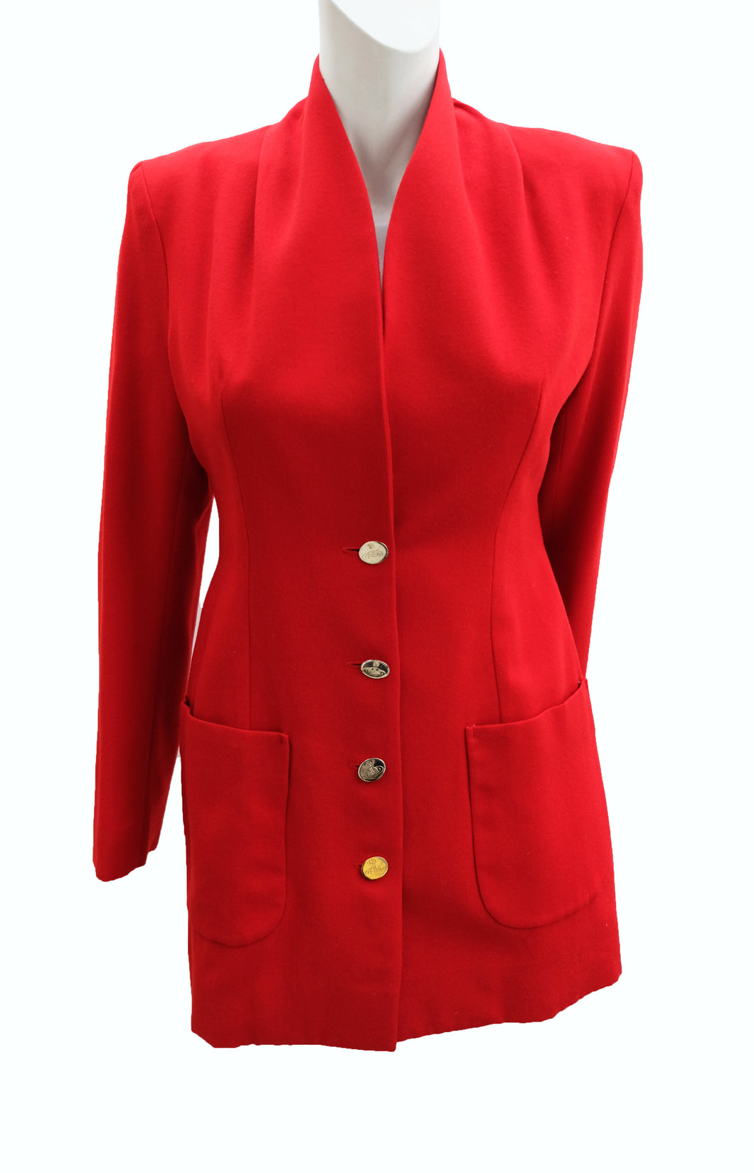 Vivienne Westwood Vintage Jacket in Red Wool with Gold Buttons, UK10