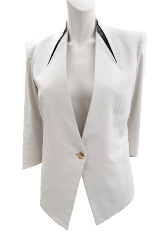 Helmut Lang White Linen Angular Jacket with Leather Trim, UK12