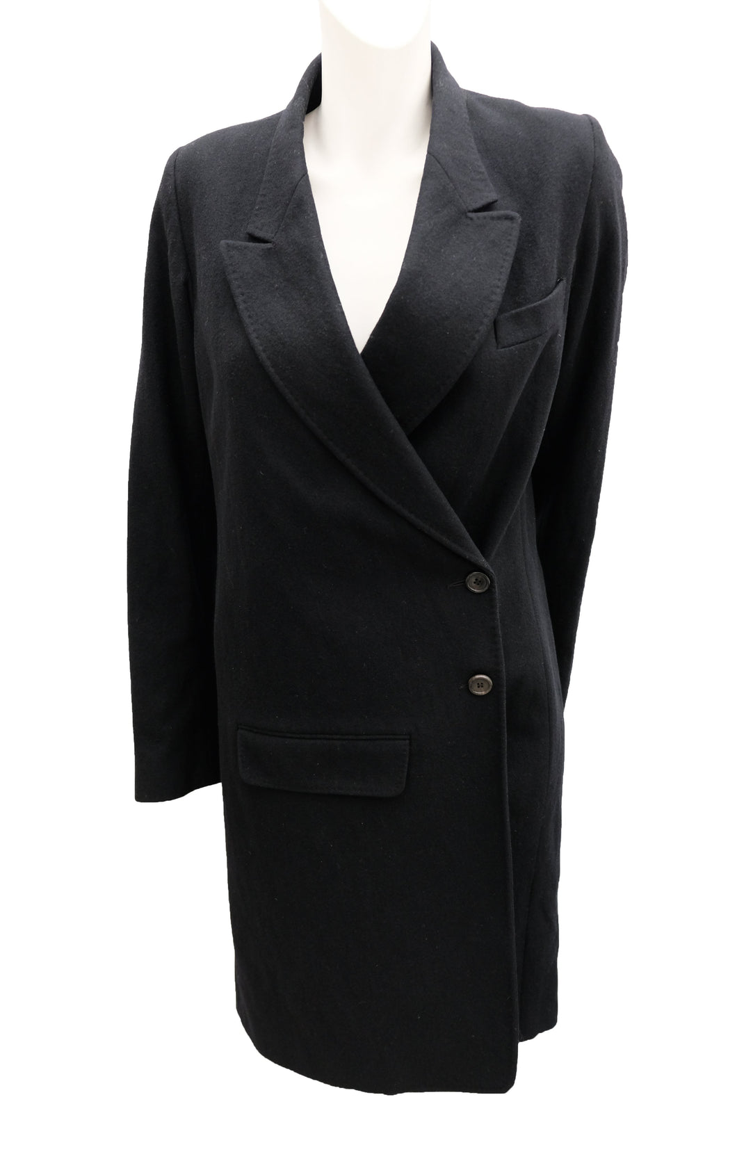 Ann Demeulemeester Long Asymmetric Black Wool Coat, UK10-12
