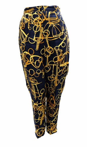 Gucci Vintage Capri Pants in Navy Linen with Gold Snaffle Print, UK10