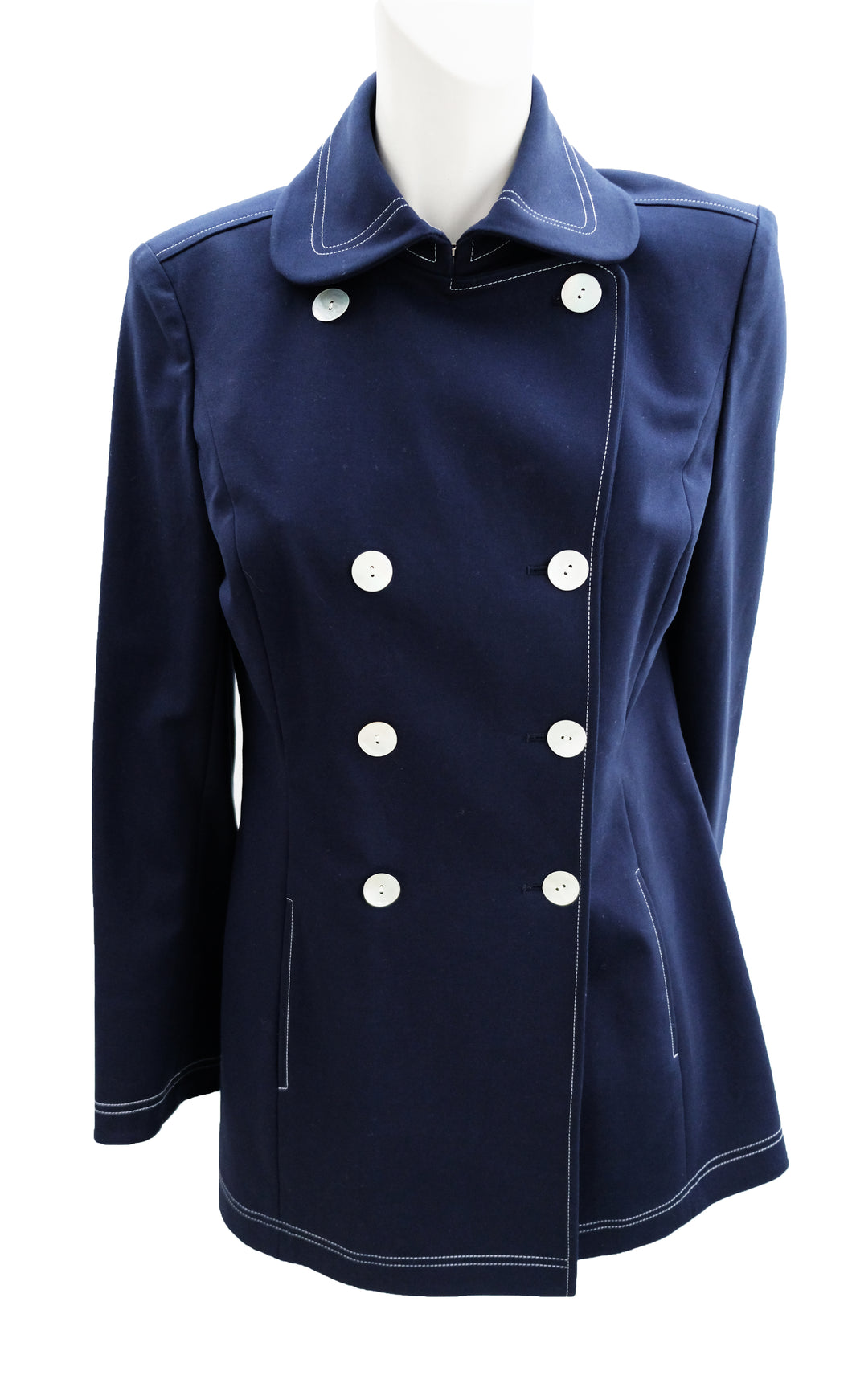 Ellen Tracy Nautical Double Breasted Reefer Jacket in Navy with White Stitching, UK10-12