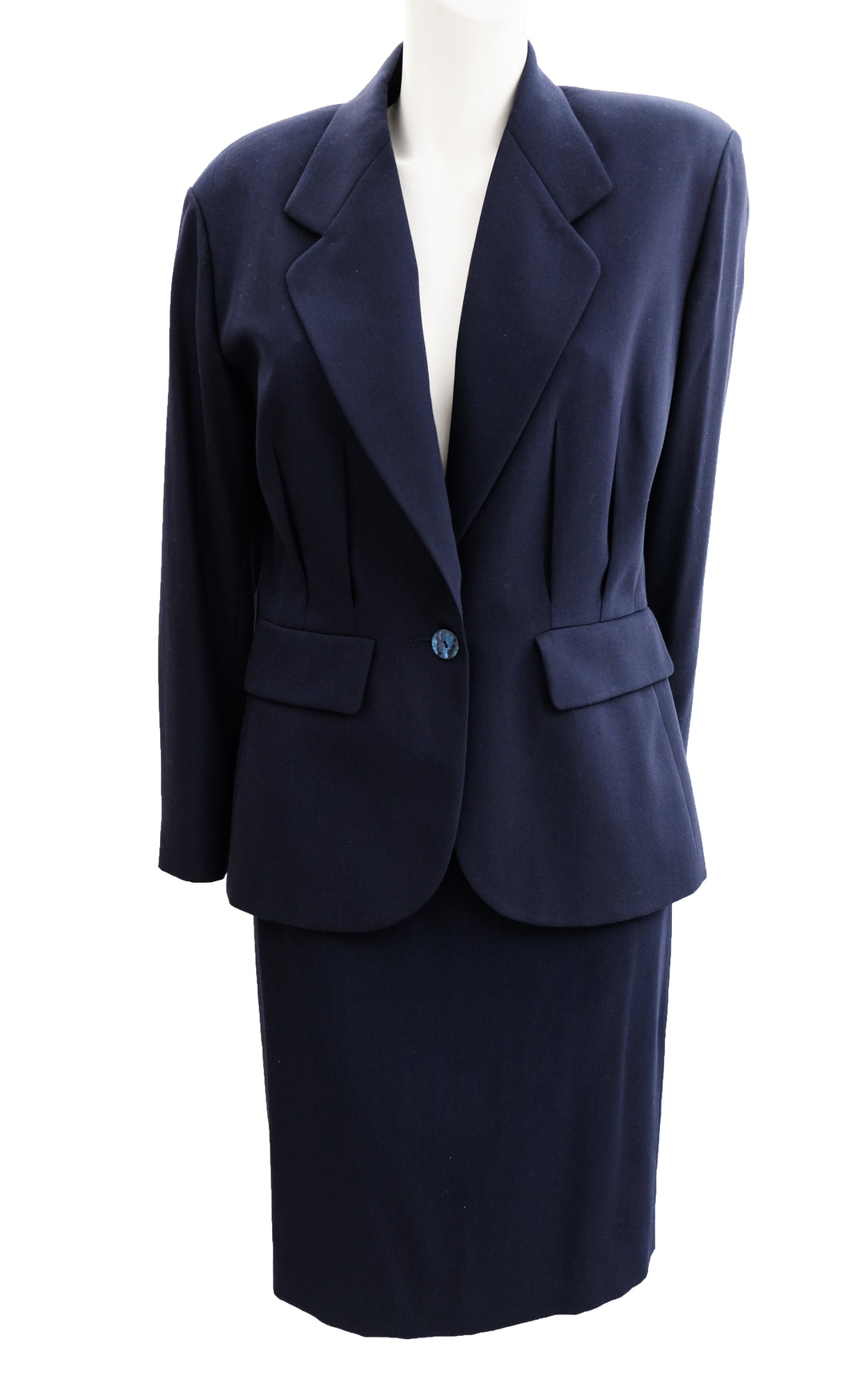 Kenzo Vintage Tailored Skirt Suit in Navy Wool, UK10-12
