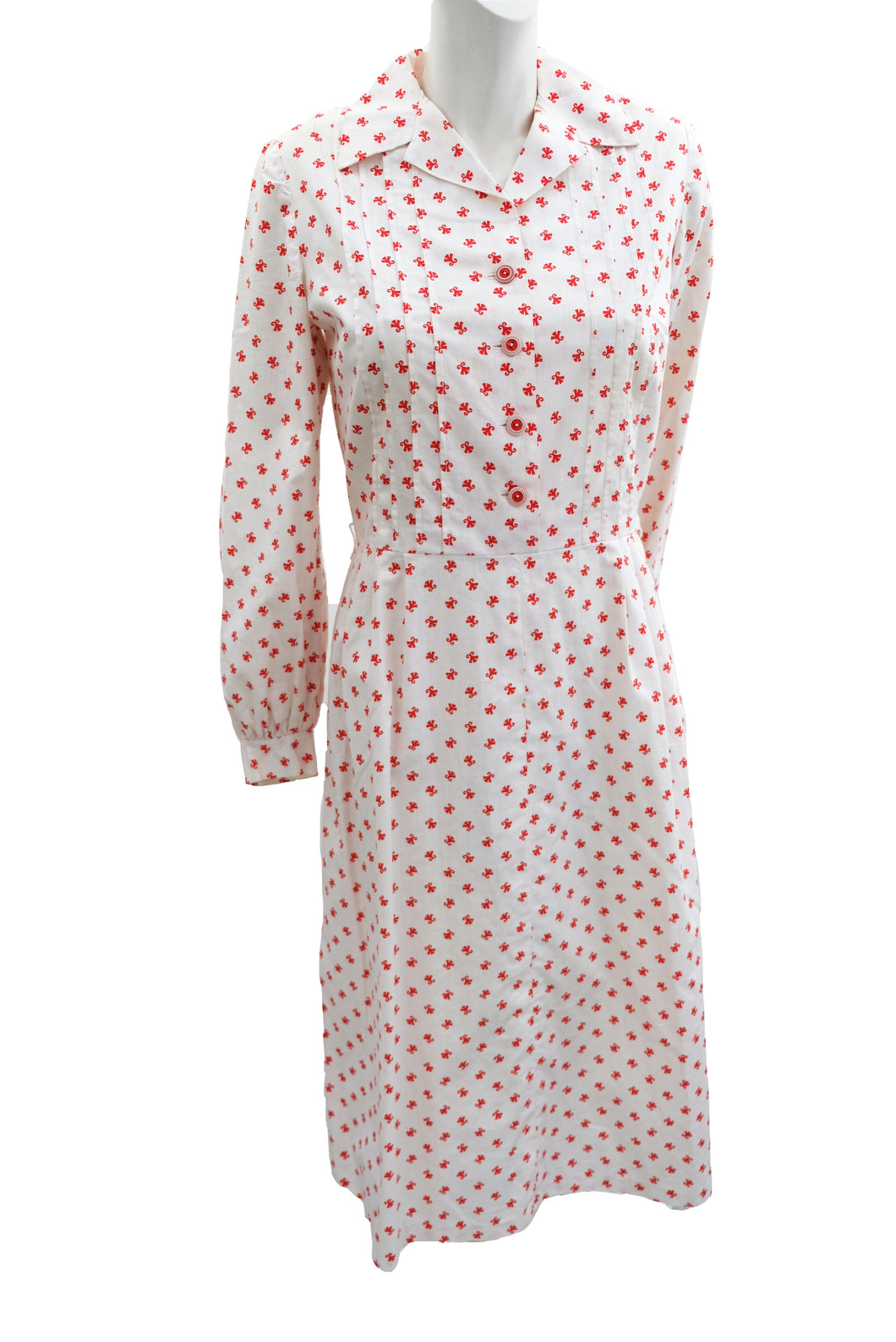Vintage Handmade Shirt Dress in White with Red Motif, UK10