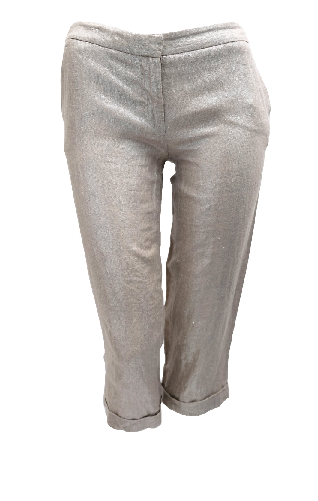 Alexander McQueen Capri Pants in Silver Linen, UK8