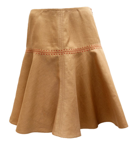 Anne Klein Skater Skirt in Tan Linen with Red Overstitching, UK12