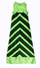 1960s Handmade Silk Maxi Dress with Diagonal Stripes, UK8