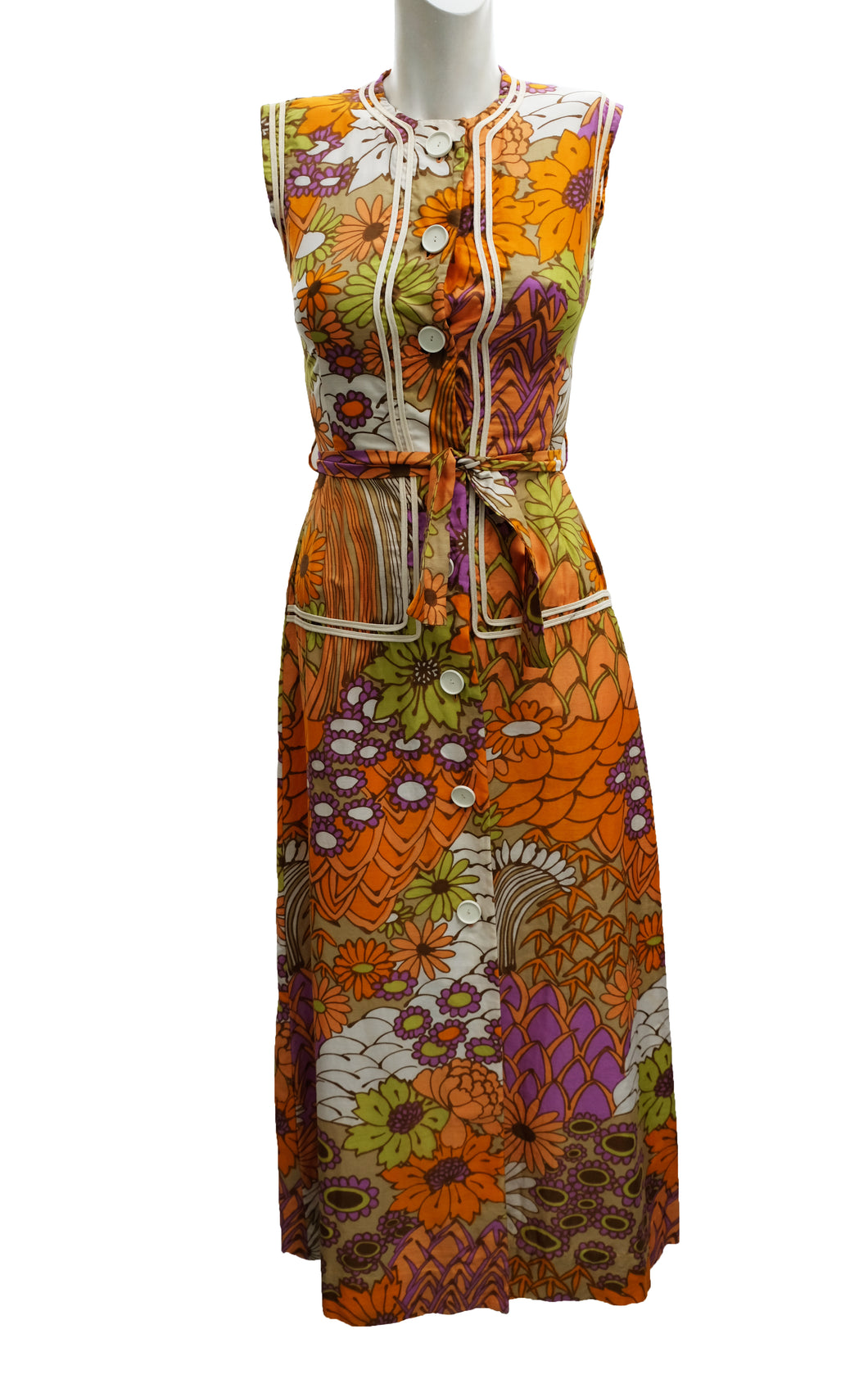 Gerald Davies Vintage  Trippy Floral Summer Dress, UK8-10
