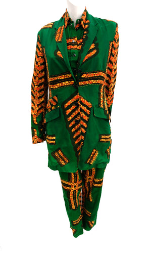 Paul Smith Vintage Three Piece Trouser Suit in African Batik Print, UK12