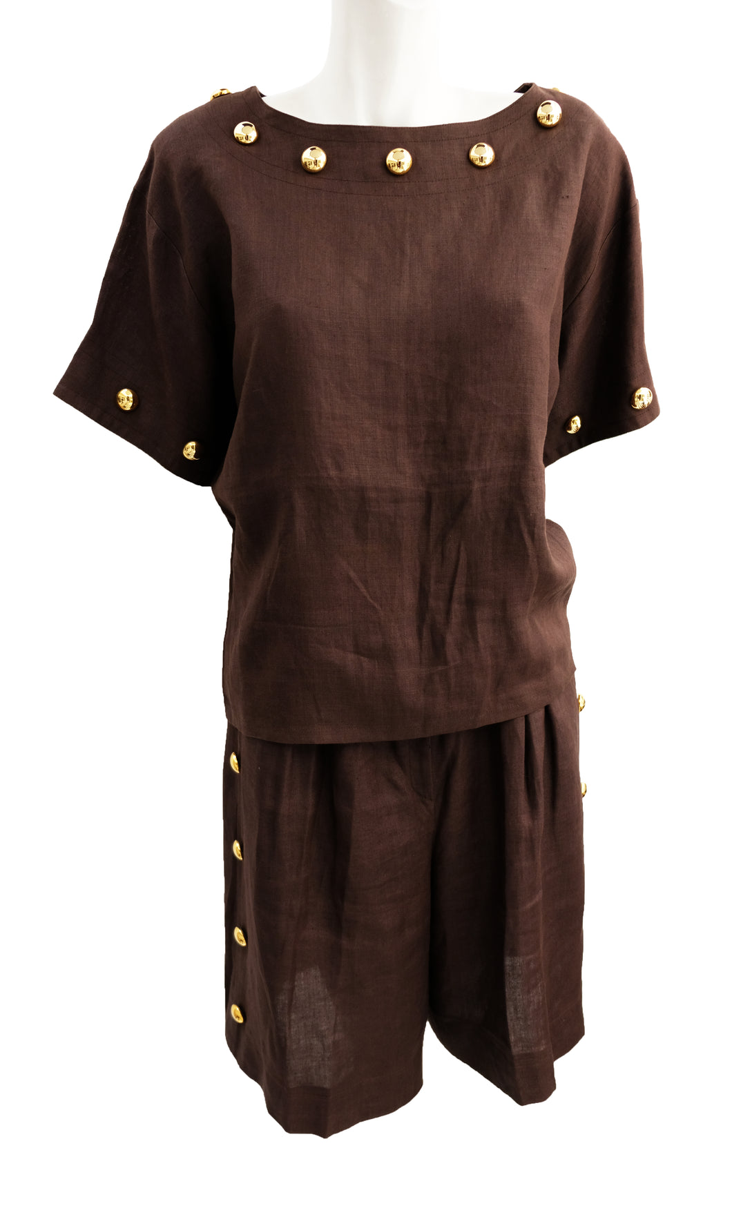 Givenchy Vintage 2 Piece Shorts Suit in Brown Linen with Gold Buttons, UK10-12