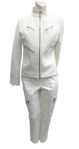 Celine 2 Piece Trouser Suit in Ivory Cotton with Gold Zips, UK10-12