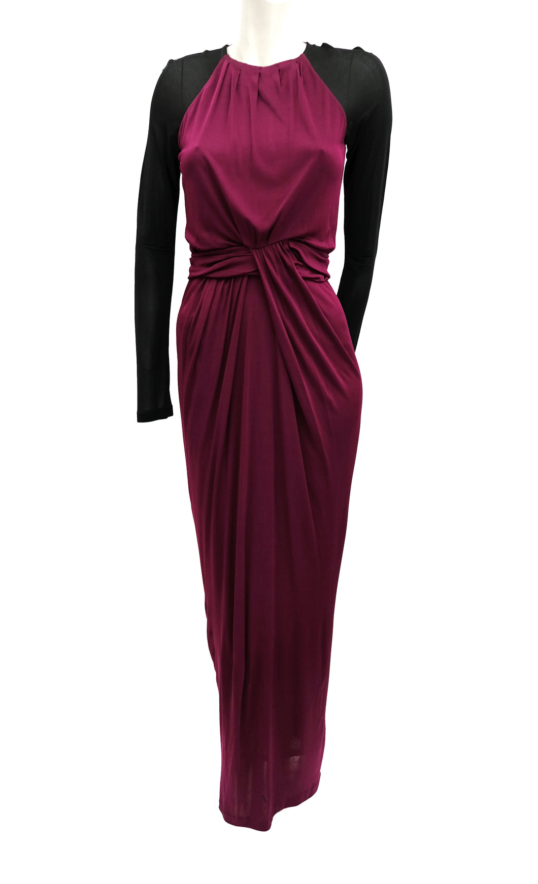 Hugo Boss Burgundy Floor Length Gown with Black Sleeves, UK10