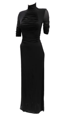 Yves Saint Laurent Ruched Black Silk Evening Gown, UK10