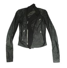 Rick Owens Black Leather and Chiffon Biker Jacket, UK10
