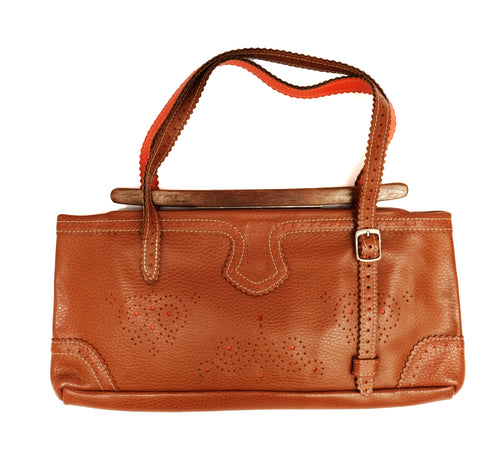 Jamin Puech Tooled Shoulder Bag in Tan Leather with Wooden Clasp