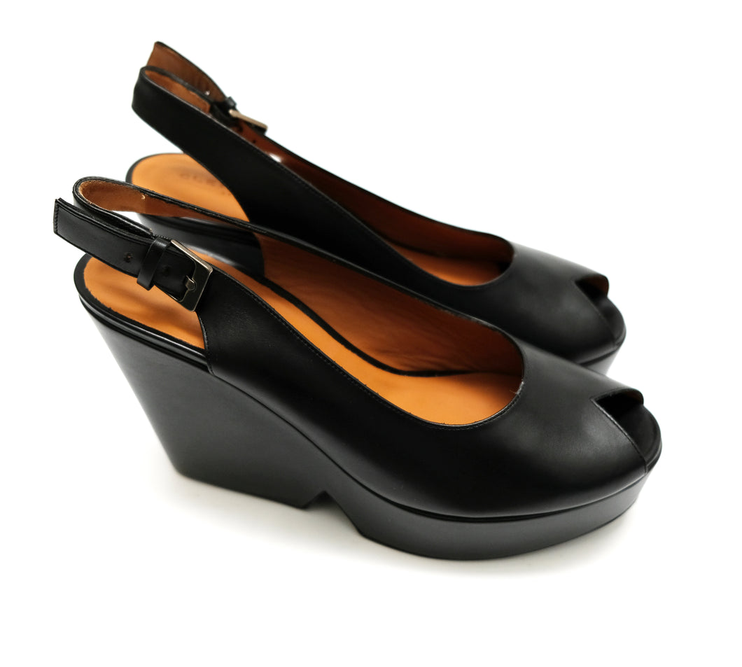 Robert Clergerie Peep Toe Slingback Platform Shoes in Black Leather, UK5.5-6