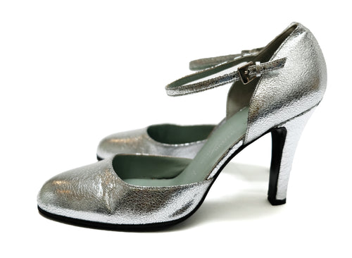 Sigerson Morrison Crackled Silver Party Heels, UK7