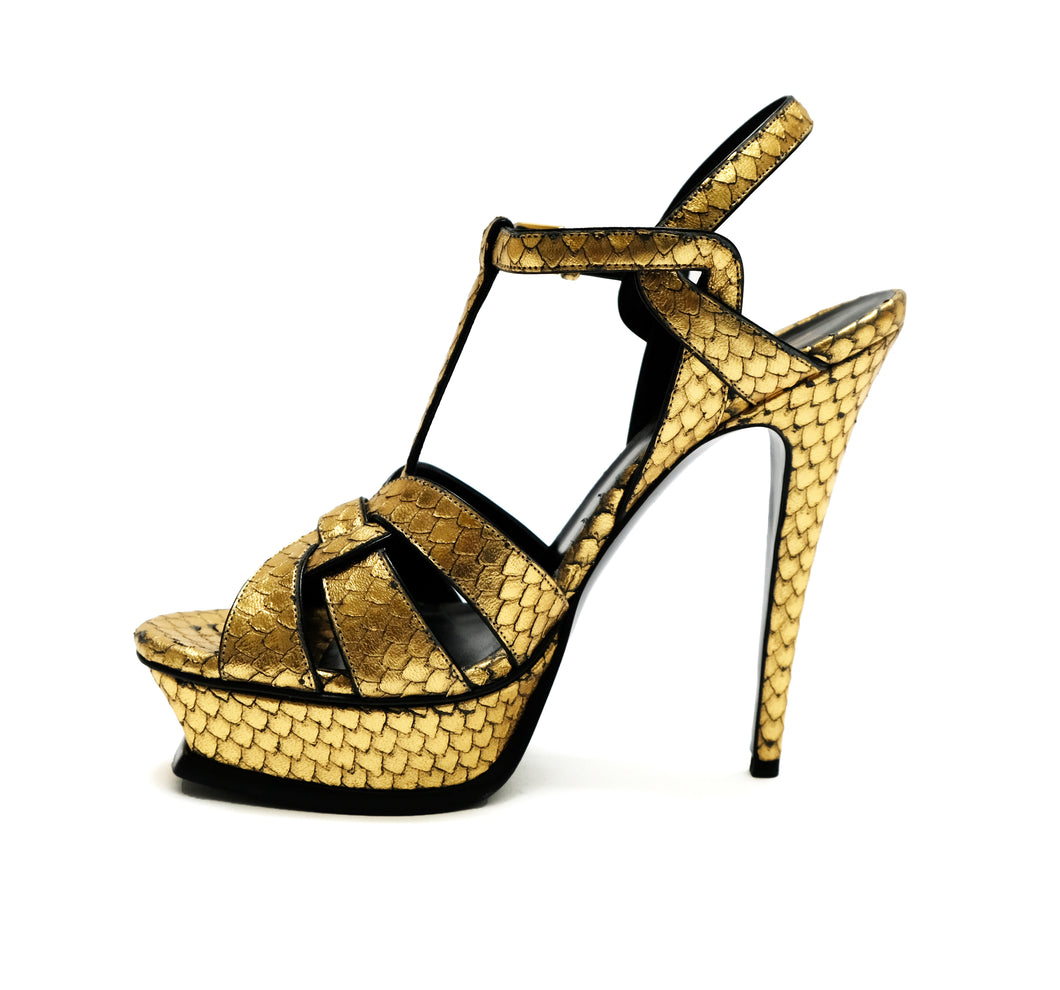 Yves Saint Laurent Gold Snakeskin Platform Sandals, UK5.5