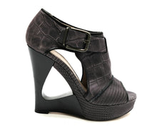 Hugo Boss Grey/Black Snakeskin Wedges,  UK5.5