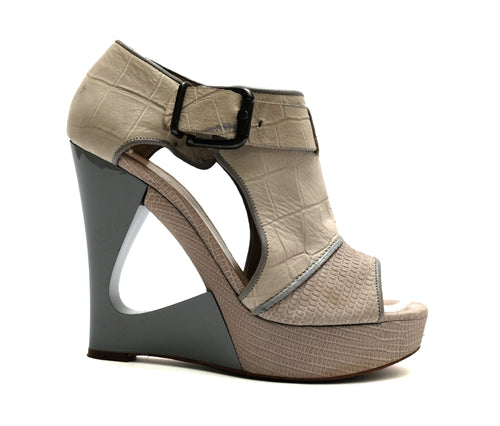 Hugo Boss Off White Snakeskin Wedges,  UK5.5