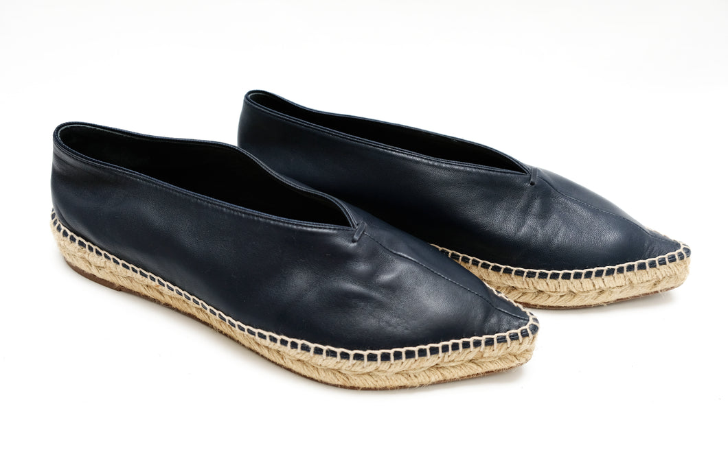 Celine Navy Leather Pointed Espadrilles, UK5.5