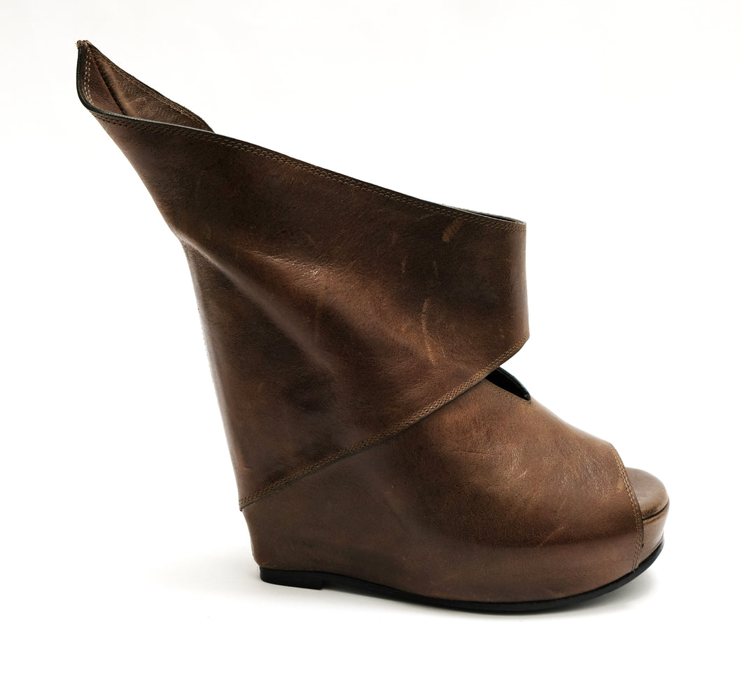 Rick Owens Brown Leather High Wedge Cut Out Sandals, UK5.5