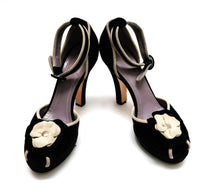 Sonia Rykiel Black Suede High Heel Platform Sandals with Ecru Flower Detail, UK6.5