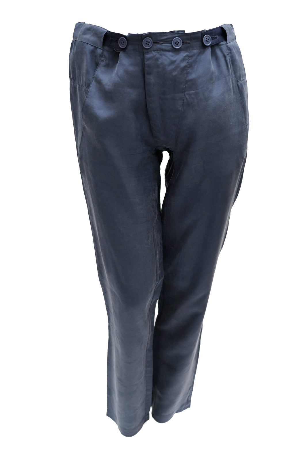 Martin Margiela Button Waist Trousers in Navy Blue Silk, UK12