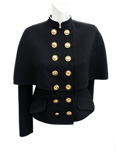 Burberry Military Caped Jacket with Gold Buttons, UK8