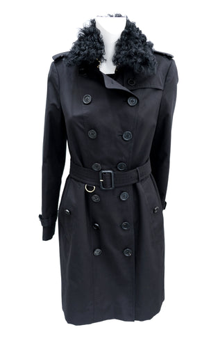 Burberry Trench Coat with Detachable Fur Collar and Lapels, UK10