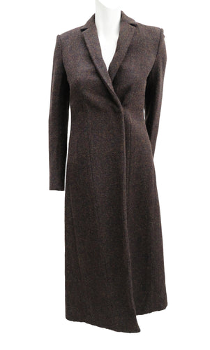 Celine Brown Felted Tweed Coat, UK8