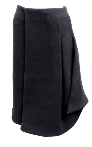 JW Anderson Asymmetric Skirt in Black Felted Wool, UK8
